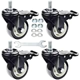 DICASAL 3 Inch Stem Casters Swivel Stem Mount Industrial Castors with American Size Thread 1/2'-13x1' Safety Dual Locking Wheels PU Foam No Noise Wheel for Workbench Furniture DIY Carts