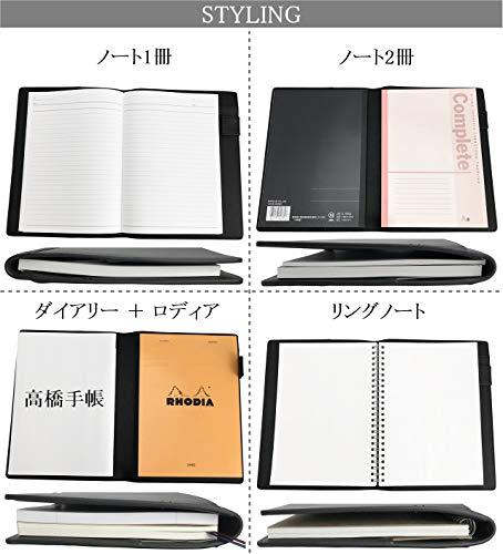 フロックスノートカバーメモ帳カバー手帳カバーメモパッドカバーA5本革革2冊収納可ペンホルダー付(グリーン)