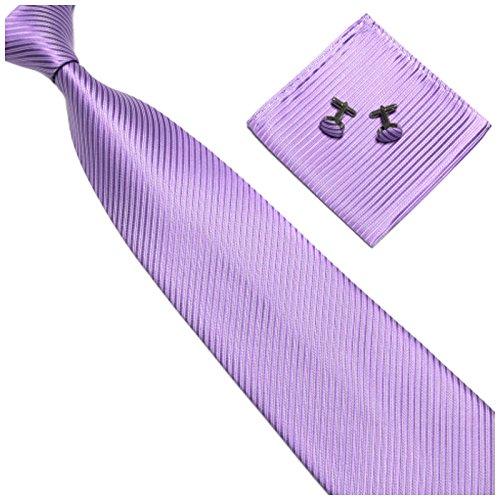 GASSANI 3-SET Violette Krawatte Streifen gestreift   Binder Flieder-Violett Manschettenknöpfe Einstecktuch   Krawattenset zum Anzug Seide-Optik