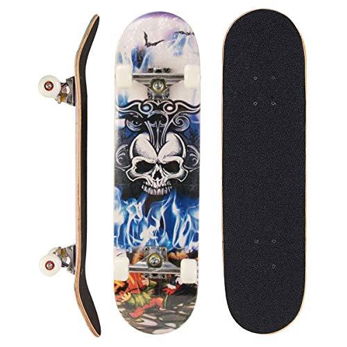 Sumeber Skateboard für Anfänger, Geburtstagsgeschenk für Teenager und Erwachsene, König Schädel