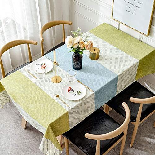WENYAO Mantel de Tela de algodón, Rectangular, Impermeable, portátil, para Mesa de Centro, para Sala de Estar, Comedor, Estudio-E, 130x200cm (51x79inch)