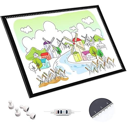 Mesa De Luz Para Calcar , LED Tableta De Luz Dibujo, USB Mesa De Luz Dibujo, 10 Niveles Regulable De Iluminación De La Caja De Alimentación Micro USB, Para Pintura De Diamantes, Dibujo, Bocetos,A1