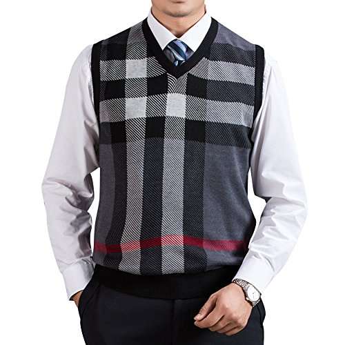 Zicac Men's V-Neck Plaid Knitwear Sweater Vest Waistcoat (XL, Gray)