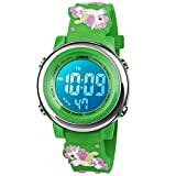 BIGMEDA Reloj Digital para Niños Niña, Luz Intermitente LED de 7 Colores Reloj de Pulsera Niña Multifunción, para Niños de 3 a 12 años (Verde Unicornio)