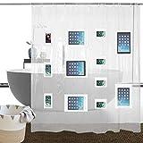 TFP Duschvorhang PEVA Transparent Anti-Schimmel Wasserdicht Antibakteriell Material Badezimmer Vorhang Waschbar Duschvorhänge mit 9 Mesh-Taschen/Bad Organizer für Badewanne 180×180cm