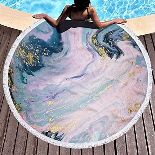 IAMZHL Toalla de Playa con patrón de mármol de Microfibra Toalla de Yoga de Acuarela Grande Redonda con Borla Cubierta de Manta de Alfombra de Playa-a60-Diameter 150cm