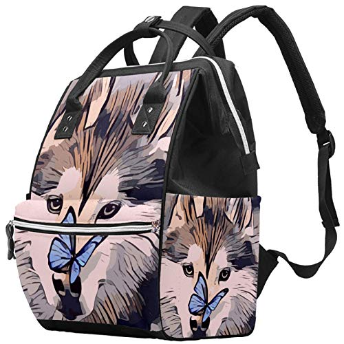 Mummy Changing Bag Multi-Function Laptop Backpack Waterproof Diaper Bag Travel Nappy Tote Bags Doctor Bag School Daypack - Butterfly Husky Dog