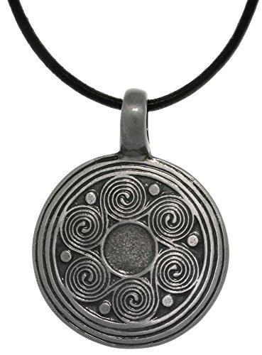 Jewelry Trends Pewter Celtic Triskele Spiral Viking Medallion Pendant Necklace 18'