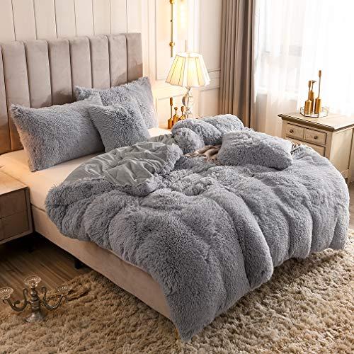 Uhamho Solid Fluffy 1PC Faux Fur Plush Duvet Cover Luxury Shaggy Velvet Bedspread Zipper Closure (Gray, Queen)