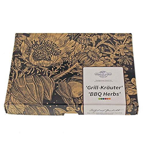 Grill-Kräuter - Samen-Geschenkset mit 4 aromatischen Sorten zum Marinieren & Würzen von Steaks und Grillfleisch