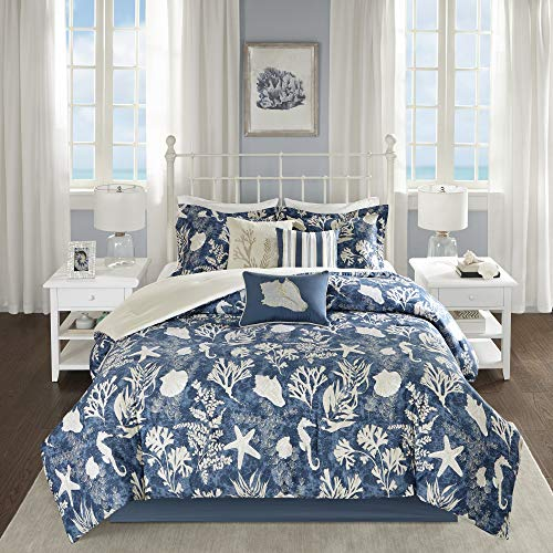 Madison Park Cotton Comforter Set-Coastal Coral, Starfish Design All Season Down Alternative Cozy Bedding with Matching Shams, Decorative Pillow, Queen(90u0022x90u0022), Blue 7 Piece
