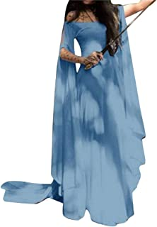 5861d873cdc Femmes Robe Médiévale Renaissance Irrégulière Gothique Costume Nettoyage  Princesse Manche Longue