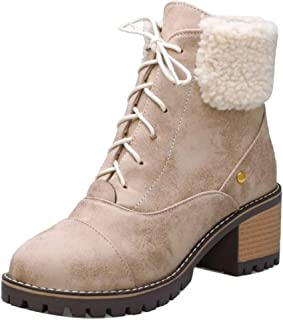 FANIMILA Vintage Women Lace Up Martin Boots with Mid Heels Platfrom