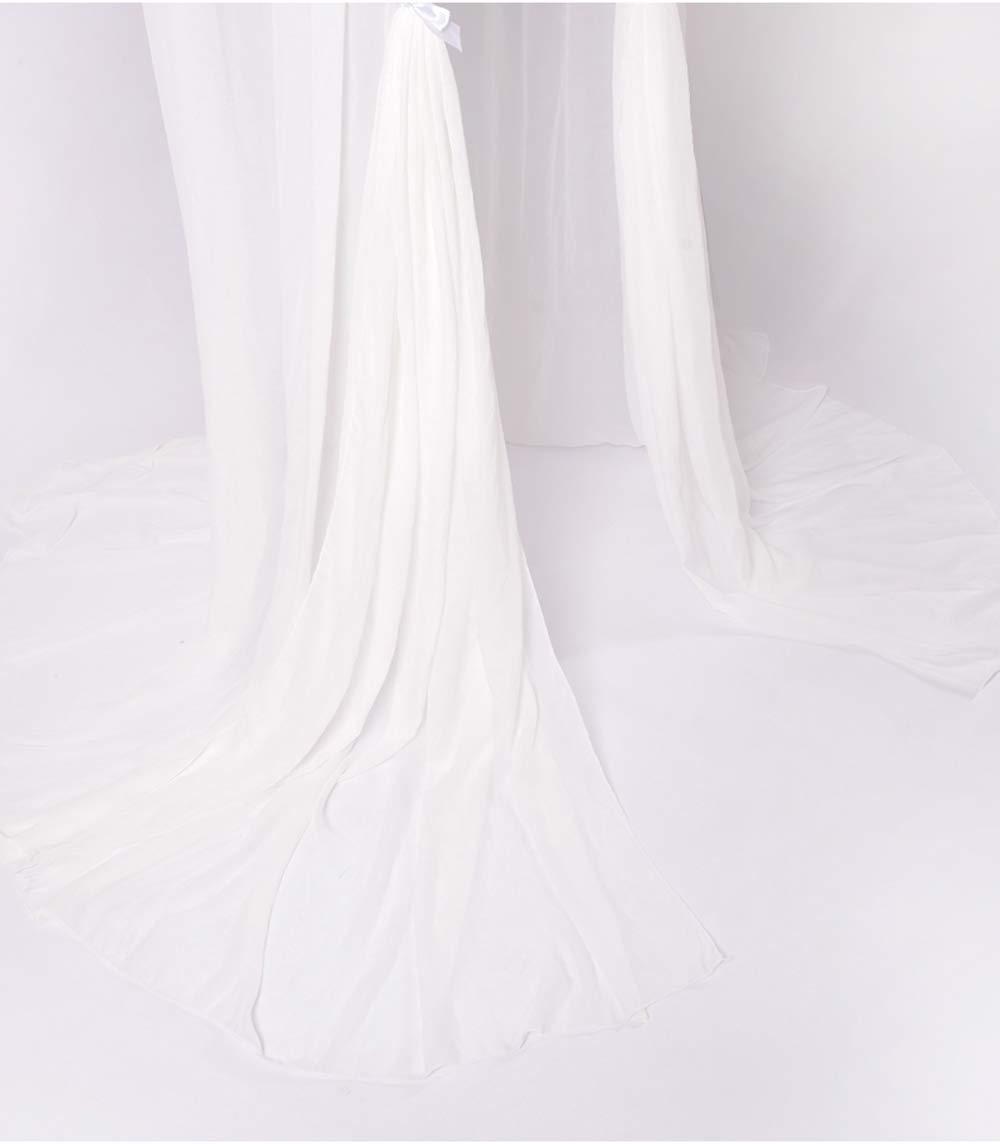 Spitzenborte Baldachin Betthimmel Moskitonetz aus Spitze,Insektenschutz Kinder Prinzessin Spielzelte Dekoration fürs Kinderzimmer mer, Höhe 250cm, Farbe Weiß Rosa-1