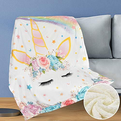 WERNNSAI Manta Unicornio - 125 x 150cm Sherpa Manta de lana Sobrecama Manta de Felpa para Niñas Regalos de Cumpleaños Baby Shower Mantas para cama Sofá Dormitorio Vivero