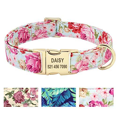 Beirui Hundehalsband mit personalisierbarem Namensschild, Blumenmuster, Premium-Hundehalsband mit Edelstahl-Schnalle, verstellbar, für kleine mittelgroße und große Hunde,Rosa Blume,S(10-15.5