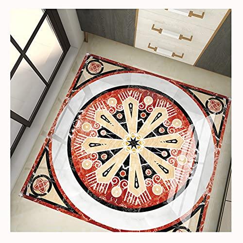 QTT Pegatinas De Azulejo Cuadrado, Mosaico Autoadhesivas Impermeables Pared Papel, Etiqueta Engomada del Piso La DecoracióN Pasillo PVC Dormitorio CalcomaníA,F,58CM 02