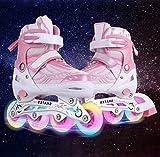 Hiriyt Leucht PU Räder Inline-Skates, Rollerblades für Kinder, größenverstellbar von 31 bis 42,...