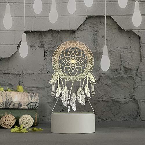 LEEDY - Luce notturna a LED 3D USB in acrilico, luce notturna da tavolo per camera da letto, decorazione regalo di colore bianco caldo s Taglia Unica