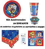 Kit Pat Patrouille 16 Enfants Complet Anniversaire (16 Assiettes, 16 gobelets, 16 Serviettes, 1 Nappe + 10 Bougies Magiques offertes) fête Nouveauté 2019