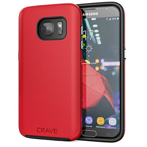 Crave Dual Guard for Samsung S7 Case, Shockproof Protection Dual Layer Case for Samsung Galaxy S7 - Red
