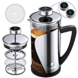 French Press Coffee Maker 34 oz, Stainless Steel Coffee Press with Temperature Display, Timer Reminder, Easy to Clean Glass French Press Coffee Pot