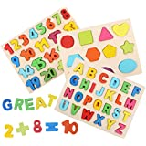 3-Pack Wooden Puzzle Boards Kid Toys Set - Big...