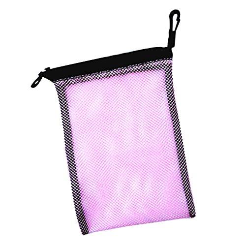 Mesh Bag, Netztasche mit Karabiner für Tauchen Schnorcheln Schwimmen Ausrüstung Aufbewahrung wie Flossen Schnorchel Tauchbrille Tauchermaske Tragetasche, Outdoor Beutel - Rosa