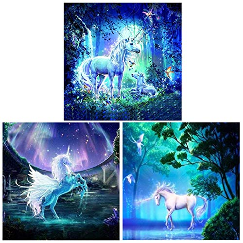 ONEST 3 Pack DIY 5D Diamond Painting Kits Round Full Drill Acrylic Embroidery Cross Stitch for Home Wall Decor, Unicorn Diamond Painting Style(12x12inches)