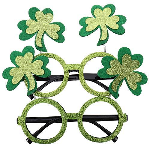 TOYANDONA S T. Patricks Day Glasses 2Pcs Irish Shamrock Leaves Disfraz Gafas de Sol Glitter Green Good Luck Clover Evewear para Nios Y Adultos Sant Paddy Party Favor Gift