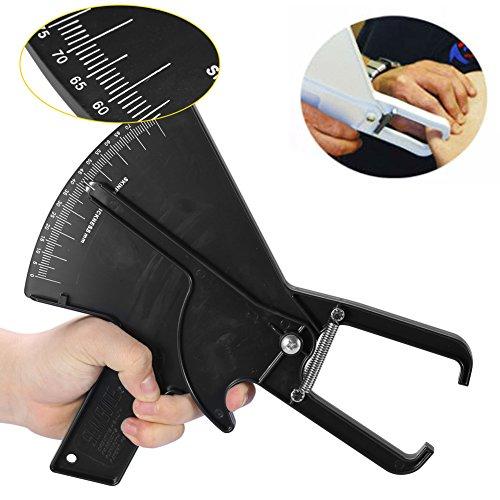 Medidor de grasa corporal de 0-80 mm Medidor de pliegues de la piel Medidor de pérdida de peso Medidor de grasa corporal Calibre de grasa corporal Calibradores(Negro)