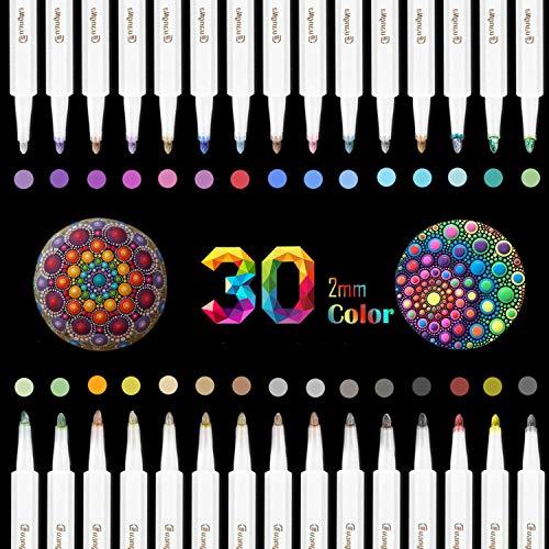 O-Kinee Premium Acrylstifte Marker Stifte für Steine, 30 Farben Marker Paint Pen, Metallic Stifte für DIY Fotoalbum Stein Metall Leinwand Papier Glas Kunststoff Keramik Holz Leder (30 Color)