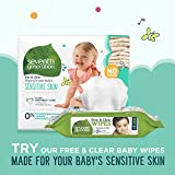 Seventh Generation Baby Diapers for Sensitive Skin, Plain Unprinted, Size 4, 135 Count (Packaging May Vary)