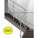 Parpyon® Ringhiera Scala in acciaio Inox AISI 304 PER INTERNO Tubo Corrimano 1-3 metri Fissaggio a...