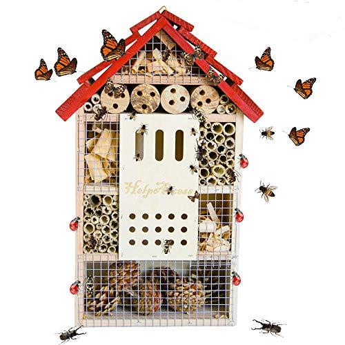 HelpAccess Insektenhotel aus Holz, Insektenhaus, Nisthilfe und Schutz für Verschiedene Fluginsekten (L)