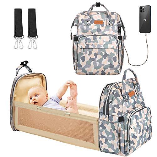 YOOFOSS Mochila Pañales para bebes Mochila Cuna Portátil Bolsos cambiadores Gran Capacidad Mochila Bebe Pañales con un Puerto de Carga USB y 2 Correas Ganchos camuflaje