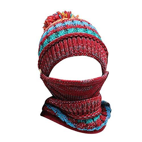 H.ZHOU Ensemble Bonnet Et Écharpe Masque Femme, Hiver Beanie Chapeau Slouchy Casquettes De Ski...