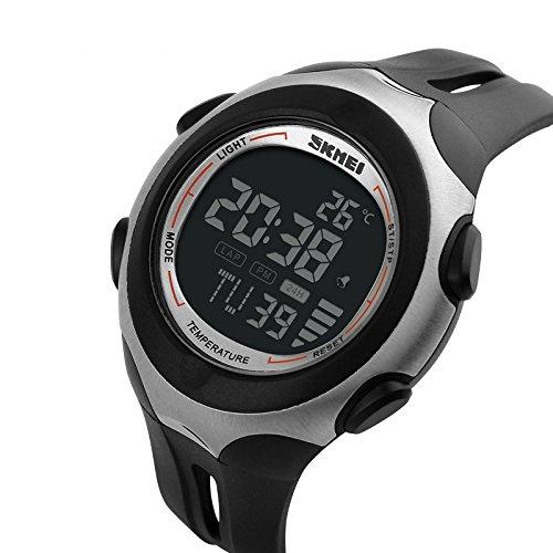 iLove EU Herren Armbanduhr 50m Wasserdicht Digital LED Alarm Datum Uhr Sportuhr mit Schwarz Zifferblatt und Schwarz Silikon Band