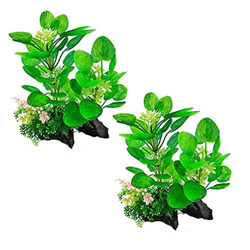 2 Stück Künstliche Wasserpflanzen, Künstliche Aquarium Deko Pflanzen Wasserpflanzen Aquariumpflanzen, Kunststoff Pflanzen Aquarium Aquariumpflanze Fisch Tank Dekoration