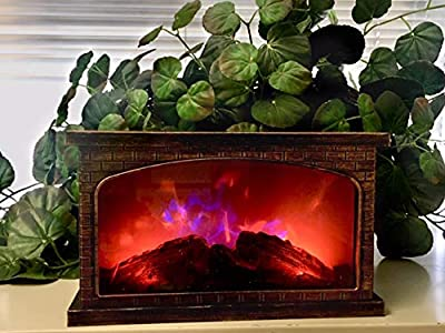 2 Color LED Fireplace Faux Flame -Calming Decor- Battery Operated -Portable-Indoor/Outdoor(Antique Gold Rectangle)