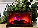 ELYYT 2 Color LED Fireplace Faux Flame -Calming Decor- Battery Operated -Portable-Indoor/Outdoor(Antique Gold Rectangle)