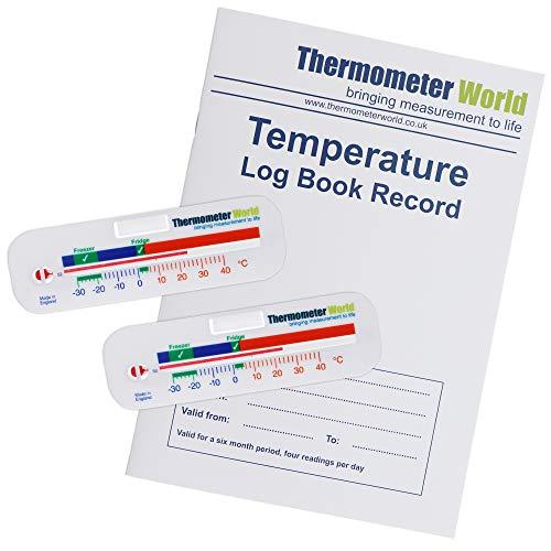 Thermometer für Kühlschrank und Gefrierschrank, horizontal, für Kühl- und Gefrierschrank, 2 Stück
