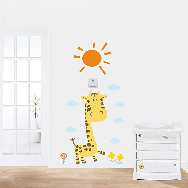 BIBITIME Cartoon Giraffe Wall Decal For Children Baby Girls Nursery Bedroom Kids Room Decor Classroom Sun Cloud Flower Vinyl Sticker
