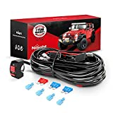 Nilight LED Light Bar Wiring Harness Kit Motorcycle Handlebar Switch 16AWG 2 leads 12V On Off Push Button Switch for Motorcycle ATV UTV Driving Lights 7/8inch,2 Years Warranty