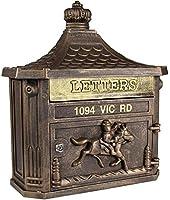 ヴィンテージの壁にマウントされたメールボックスポストボックスレターボックス屋外耐候性小包ドロップボックス正面ドアオフィスセーフセーフなメールポストレターボックス - グレー-茶色A