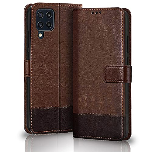 TheGiftKart Dual-Color Leather Finish Flip Back Cover for Samsung Galaxy M32 4G | Inside Pockets & Inbuilt Stand | Wallet Style | Magnet Closure Samsung M32 4G Flip Case (Brown & Coffee)