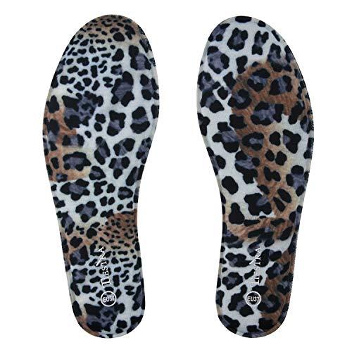 TIESTRA Plantillas Memory Foam para Zapatos de Mujer y Hombre, Plantillas Confort y Flexibles,Cómodas y Amortiguación para Trabajo, Deportes, Caminar, Senderismo, Mujer Leopardo EU38