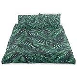 Yoyon Bettbezug Set Aquarell Tropische Dschungelblätter Muster Frischer Regenwald Hawaii Sommer Dekorative 3-teilige Bettwäsche Set mit 2 Kissen Shams