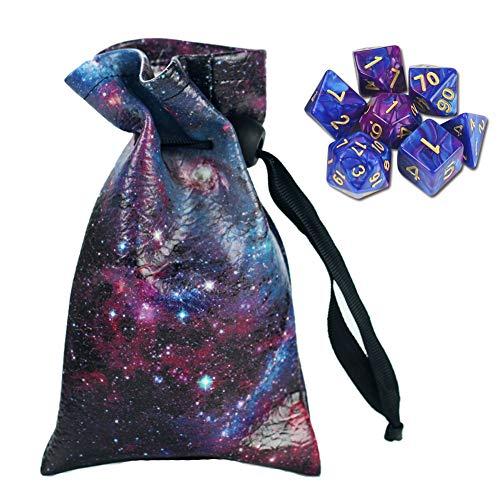 QIELIZI DND Würfel-Tasche, PU-Leder, Drachenwürfel, Tasche mit 7 Stanzformen, perfekt für Dungeons und Drachen, RPG D & D Würfel, Münzen und Zubehör