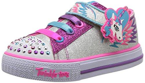 Skechers Baby Girls 10772N Walking Trainers, Multicolour (Silver/Hot Pink), 4 UK (21 EU)